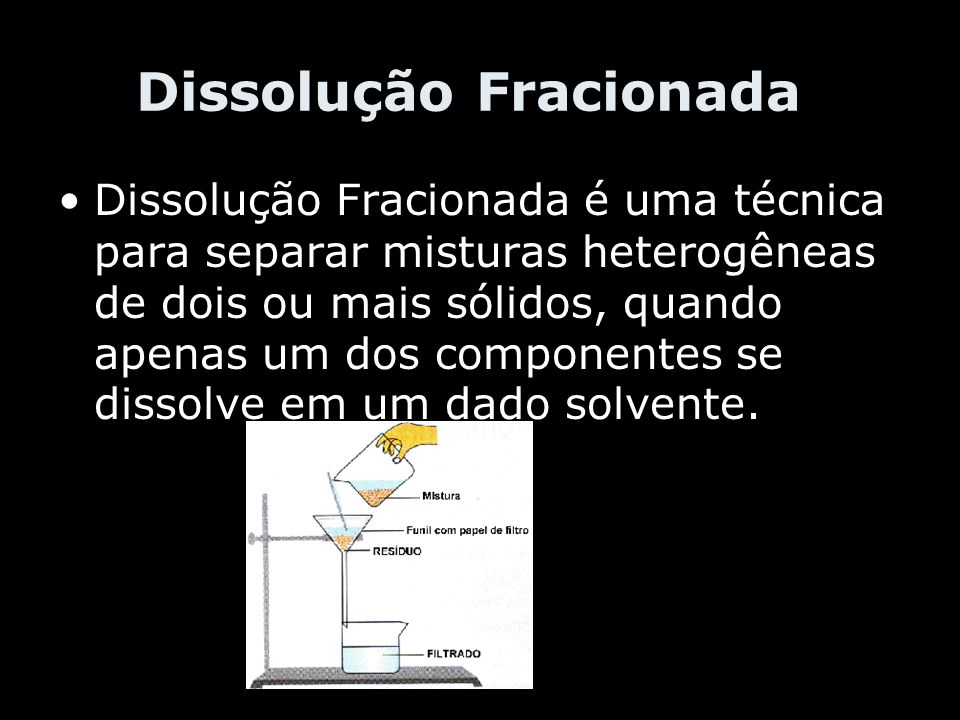 Dissolução Fracionada Dissolução Fracionada é uma técnica para separar misturas heterogêneas de dois ou mais sólidos, quando apenas um dos componentes