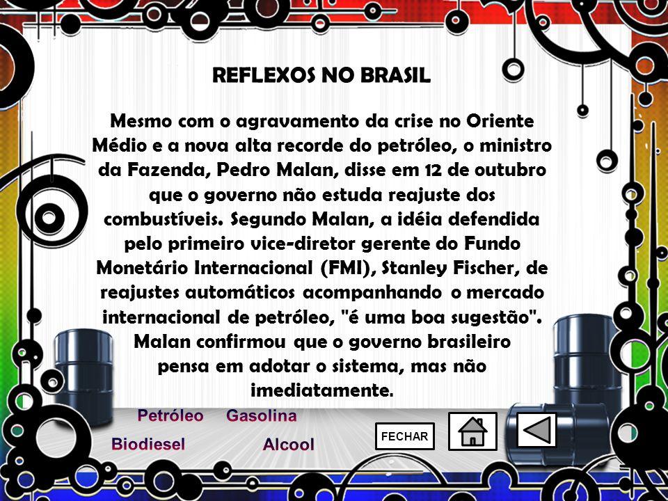 REFLEXOS NO BRASIL Mesmo com o agravamento da crise no Oriente Médio e a nova alta recorde do petróleo, o ministro da Fazenda, Pedro Malan, disse em 1