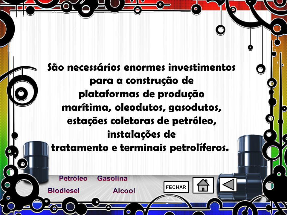 São necessários enormes investimentos para a construção de plataformas de produção marítima, oleodutos, gasodutos, estações coletoras de petróleo, ins