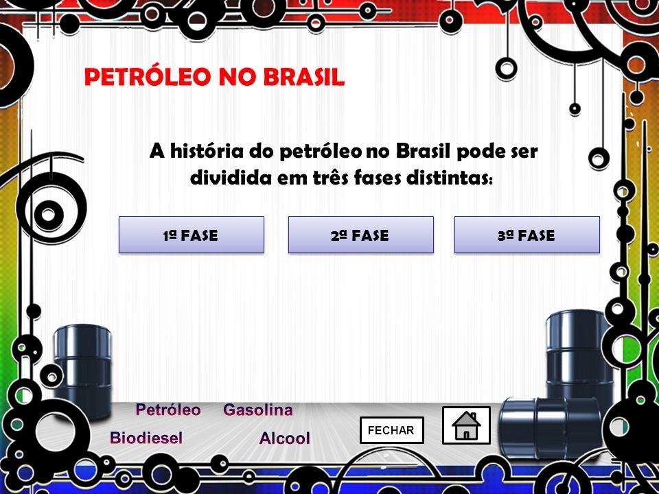A história do petróleo no Brasil pode ser dividida em três fases distintas : PETRÓLEO NO BRASIL 1ª FASE 3ª FASE 2ª FASE FECHAR
