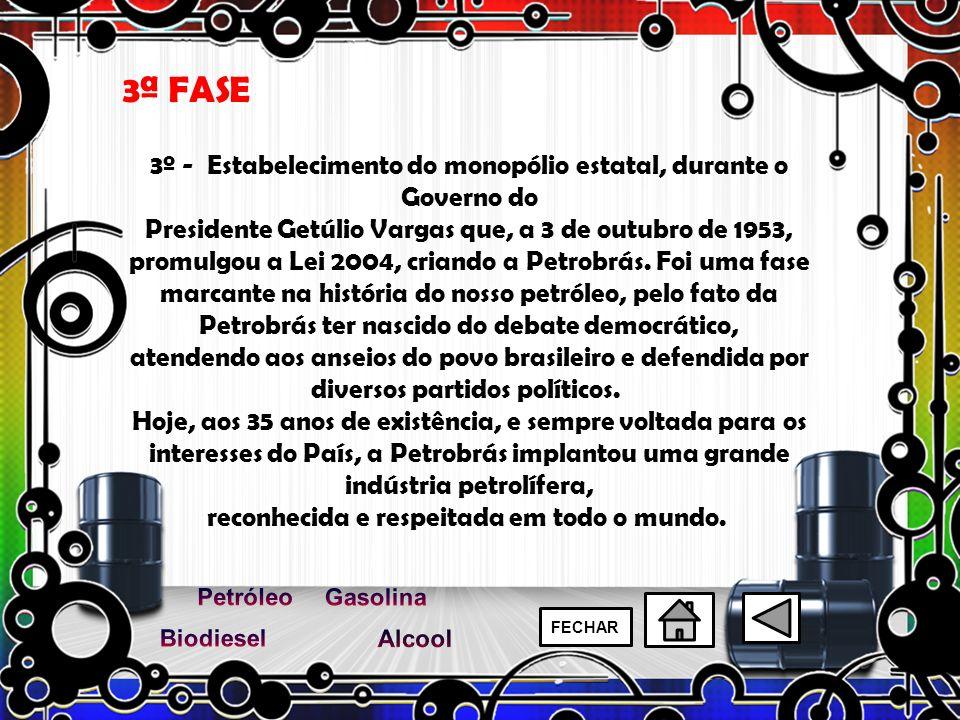 3º - Estabelecimento do monopólio estatal, durante o Governo do Presidente Getúlio Vargas que, a 3 de outubro de 1953, promulgou a Lei 2004, criando a