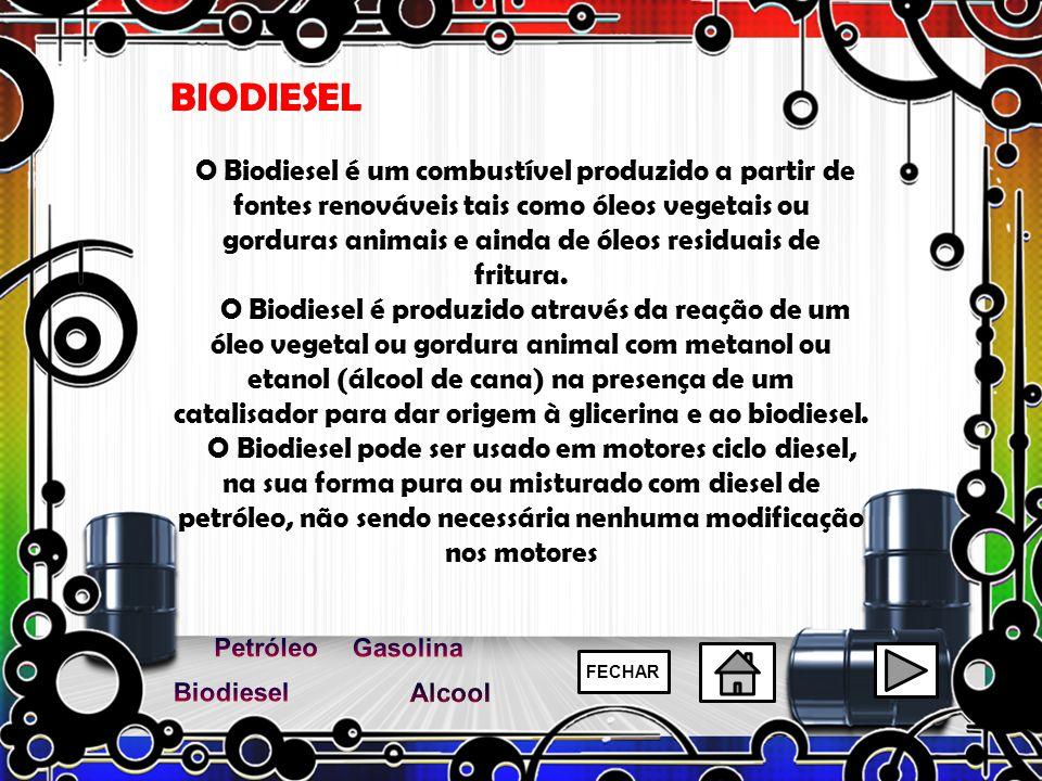 BIODIESEL FECHAR O Biodiesel é um combustível produzido a partir de fontes renováveis tais como óleos vegetais ou gorduras animais e ainda de óleos re