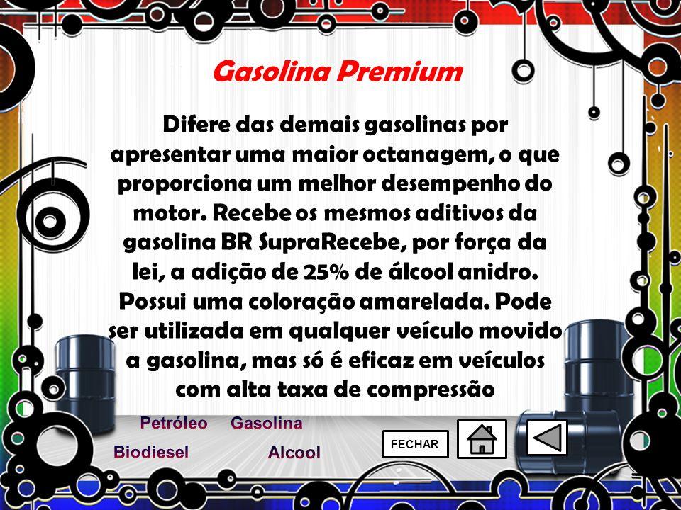Gasolina Premium Difere das demais gasolinas por apresentar uma maior octanagem, o que proporciona um melhor desempenho do motor. Recebe os mesmos adi