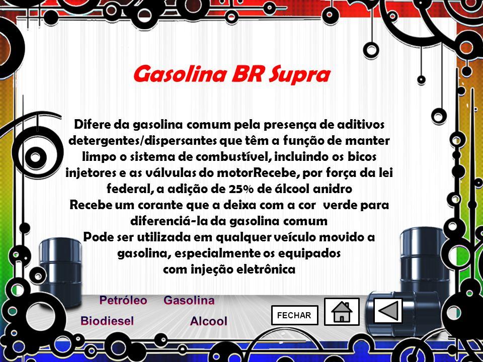 Gasolina BR Supra Difere da gasolina comum pela presença de aditivos detergentes/dispersantes que têm a função de manter limpo o sistema de combustíve