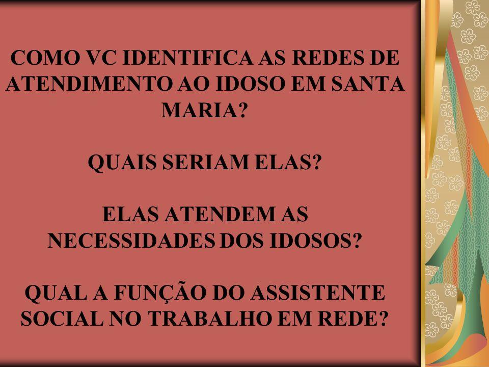 COMO VC IDENTIFICA AS REDES DE ATENDIMENTO AO IDOSO EM SANTA MARIA.