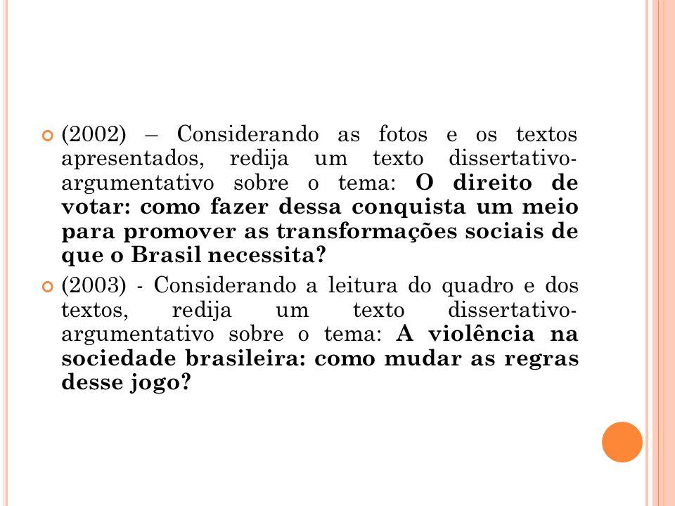 (2002) – Considerando as fotos e os textos apresentados, redija um texto dissertativo- argumentativo sobre o tema: O direito de votar: como fazer dess