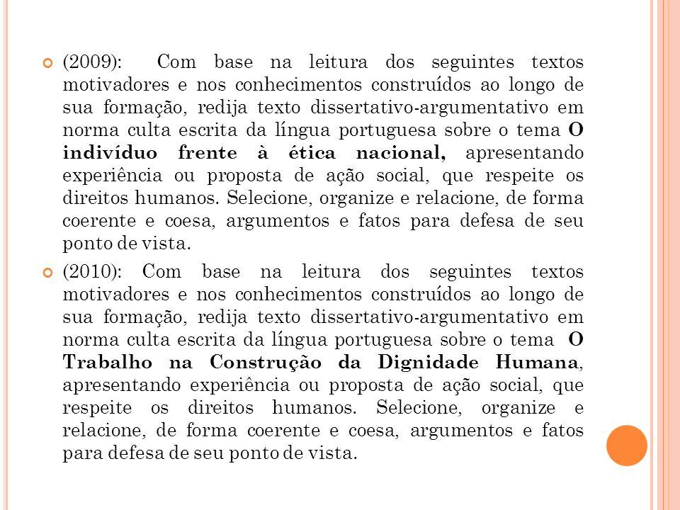 (2009): Com base na leitura dos seguintes textos motivadores e nos conhecimentos construídos ao longo de sua formação, redija texto dissertativo-argum