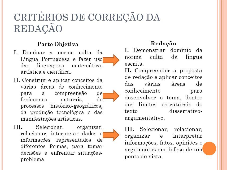 CRITÉRIOS DE CORREÇÃO DA REDAÇÃO Parte Objetiva I. Dominar a norma culta da Língua Portuguesa e fazer uso das linguagens matemática, artística e cient