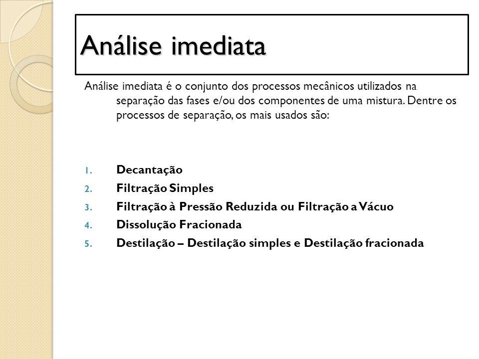 Análise imediata Análise imediata é o conjunto dos processos mecânicos utilizados na separação das fases e/ou dos componentes de uma mistura. Dentre o
