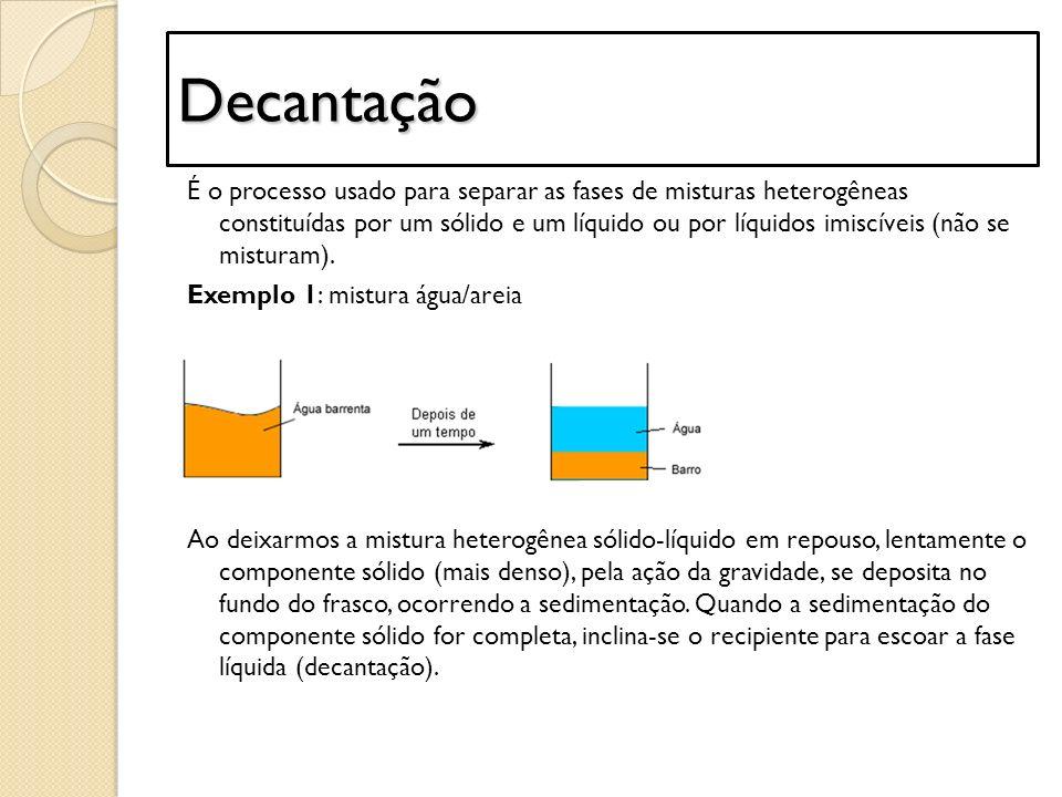 Decantação É o processo usado para separar as fases de misturas heterogêneas constituídas por um sólido e um líquido ou por líquidos imiscíveis (não s