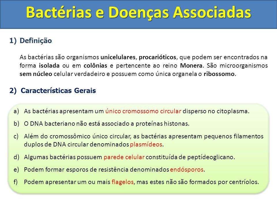 1)Definição As bactérias são organismos unicelulares, procarióticos, que podem ser encontrados na forma isolada ou em colônias e pertencente ao reino