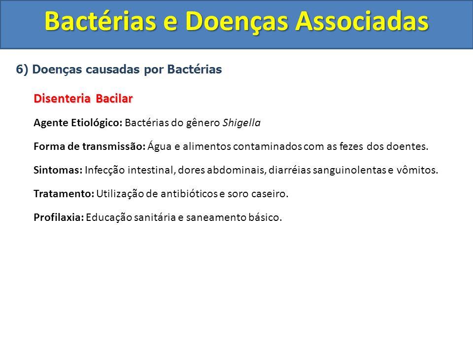 6) Doenças causadas por Bactérias Disenteria Bacilar Agente Etiológico: Bactérias do gênero Shigella Forma de transmissão: Água e alimentos contaminad