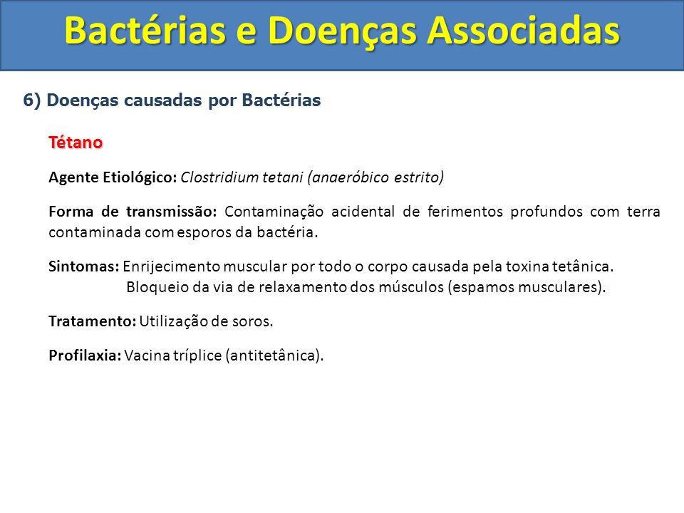 6) Doenças causadas por BactériasTétano Agente Etiológico: Clostridium tetani (anaeróbico estrito) Forma de transmissão: Contaminação acidental de fer