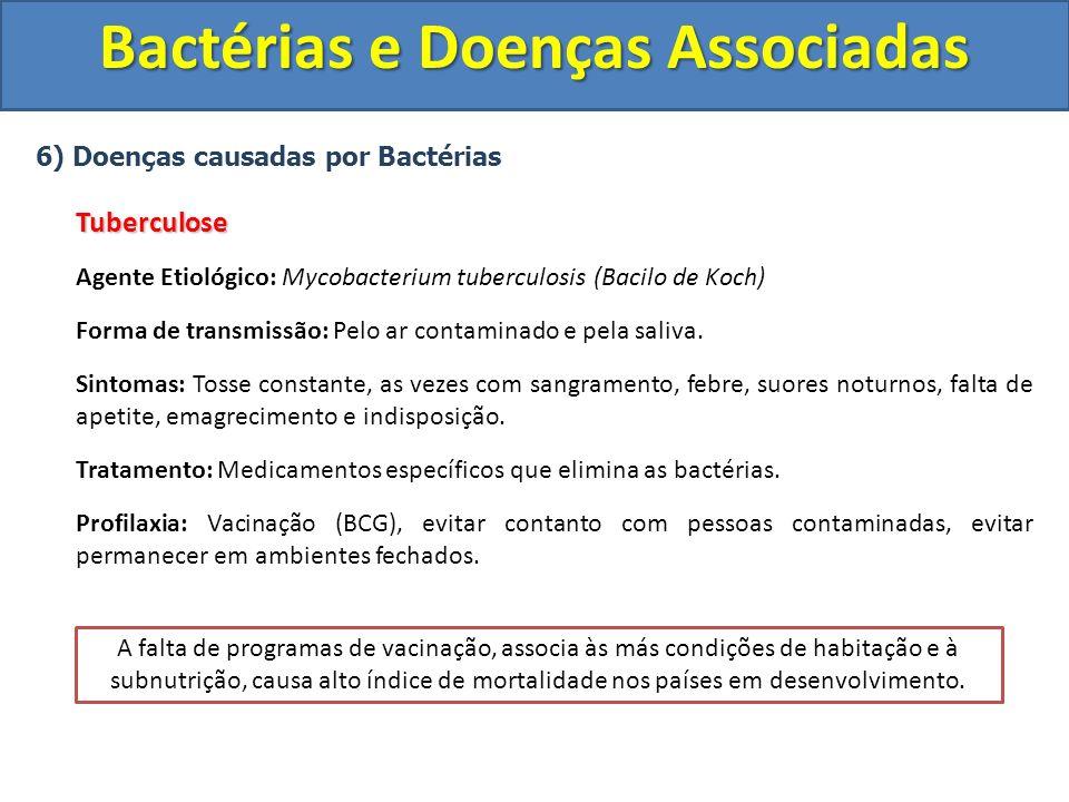6) Doenças causadas por BactériasTuberculose Agente Etiológico: Mycobacterium tuberculosis (Bacilo de Koch) Forma de transmissão: Pelo ar contaminado