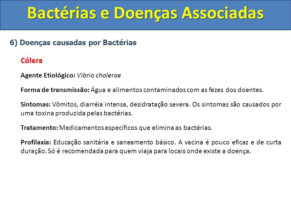 6) Doenças causadas por BactériasCólera Agente Etiológico: Vibrio cholerae Forma de transmissão: Água e alimentos contaminados com as fezes dos doente
