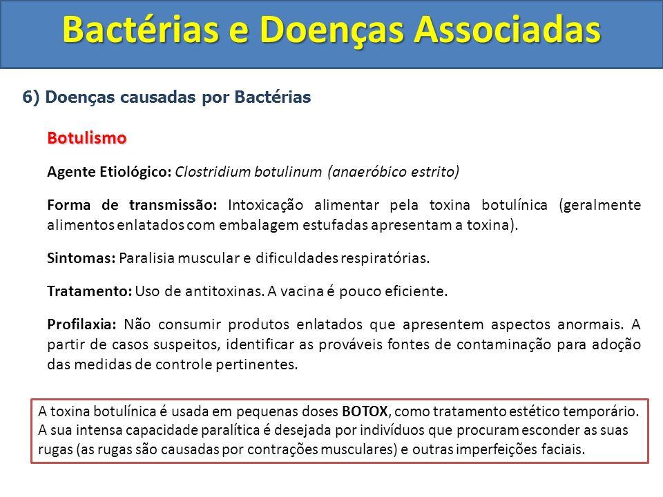 6) Doenças causadas por BactériasBotulismo Agente Etiológico: Clostridium botulinum (anaeróbico estrito) Forma de transmissão: Intoxicação alimentar p