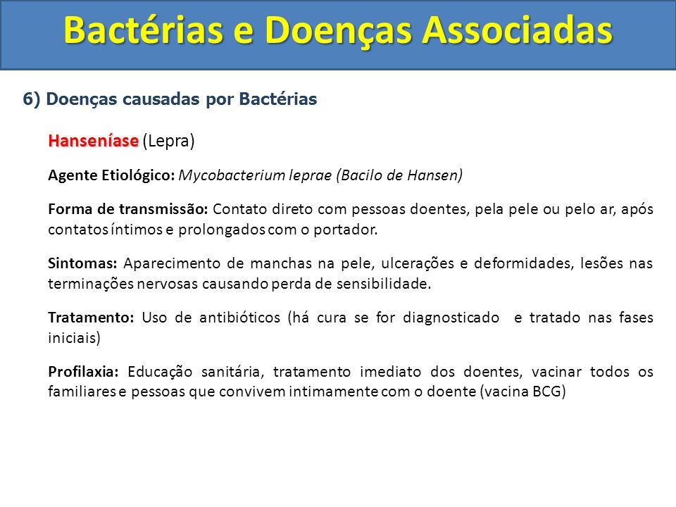 6) Doenças causadas por Bactérias Hanseníase Hanseníase (Lepra) Agente Etiológico: Mycobacterium leprae (Bacilo de Hansen) Forma de transmissão: Conta