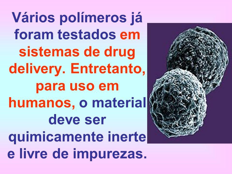Vários polímeros já foram testados em sistemas de drug delivery. Entretanto, para uso em humanos, o material deve ser quimicamente inerte e livre de i