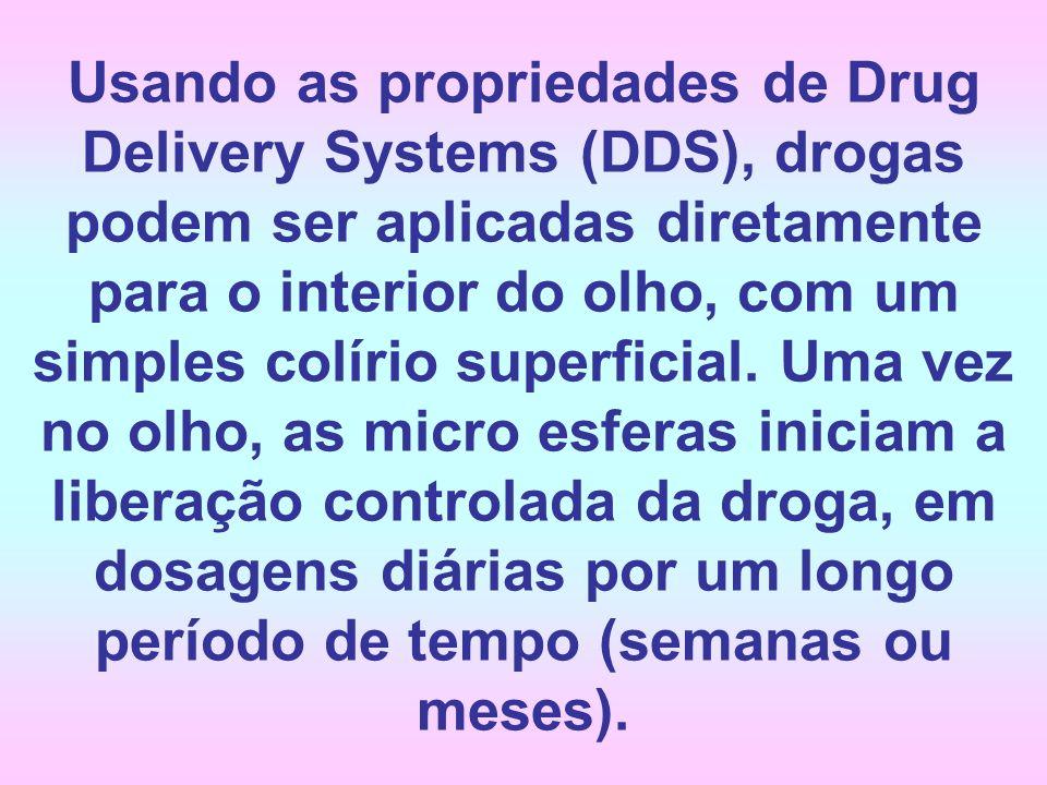 Usando as propriedades de Drug Delivery Systems (DDS), drogas podem ser aplicadas diretamente para o interior do olho, com um simples colírio superfic