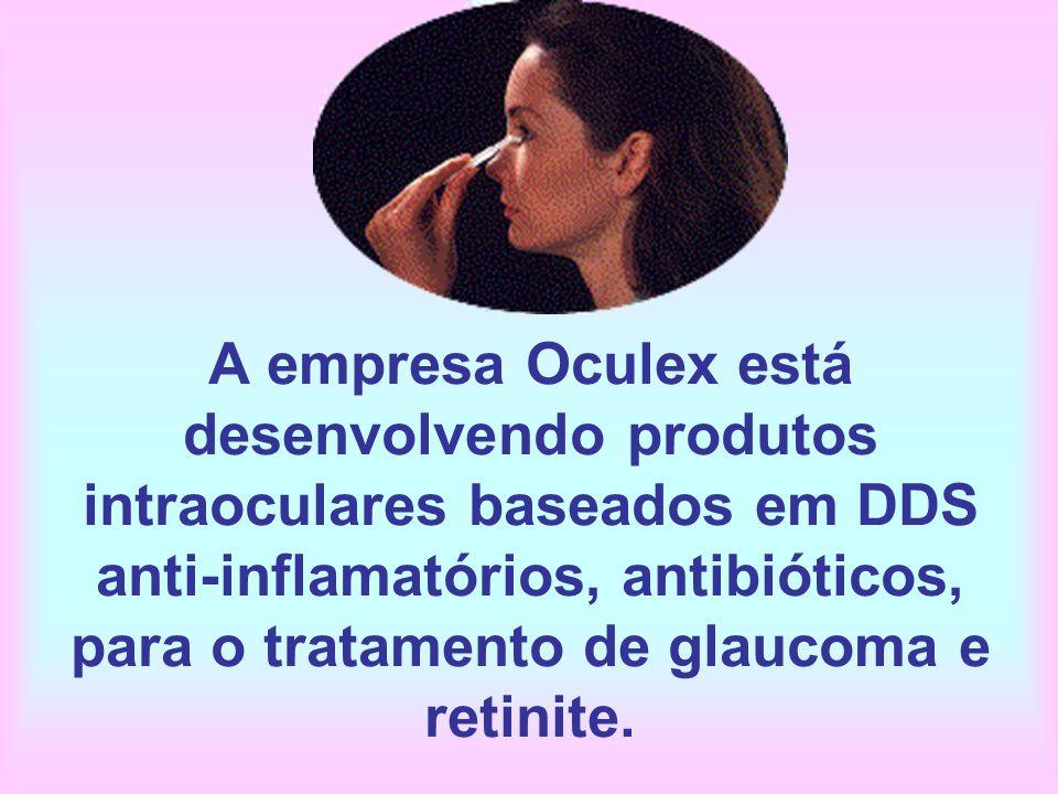 A empresa Oculex está desenvolvendo produtos intraoculares baseados em DDS anti-inflamatórios, antibióticos, para o tratamento de glaucoma e retinite.