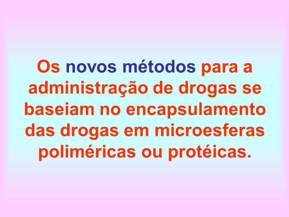 Os novos métodos para a administração de drogas se baseiam no encapsulamento das drogas em microesferas poliméricas ou protéicas.