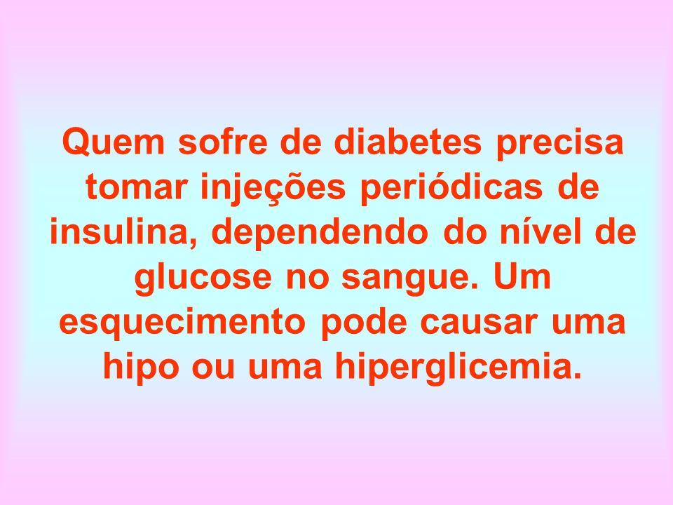 Quem sofre de diabetes precisa tomar injeções periódicas de insulina, dependendo do nível de glucose no sangue. Um esquecimento pode causar uma hipo o