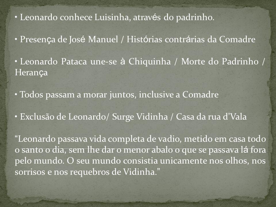 Leonardo conhece Luisinha, atrav é s do padrinho. Presen ç a de Jos é Manuel / Hist ó rias contr á rias da Comadre Leonardo Pataca une-se à Chiquinha