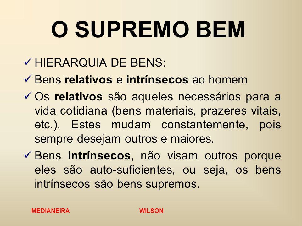 MEDIANEIRA WILSON O SUPREMO BEM HIERARQUIA DE BENS: Bens relativos e intrínsecos ao homem Os relativos são aqueles necessários para a vida cotidiana (