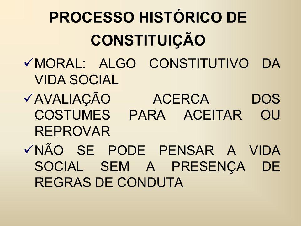 PROCESSO HISTÓRICO DE CONSTITUIÇÃO MORAL: ALGO CONSTITUTIVO DA VIDA SOCIAL AVALIAÇÃO ACERCA DOS COSTUMES PARA ACEITAR OU REPROVAR NÃO SE PODE PENSAR A