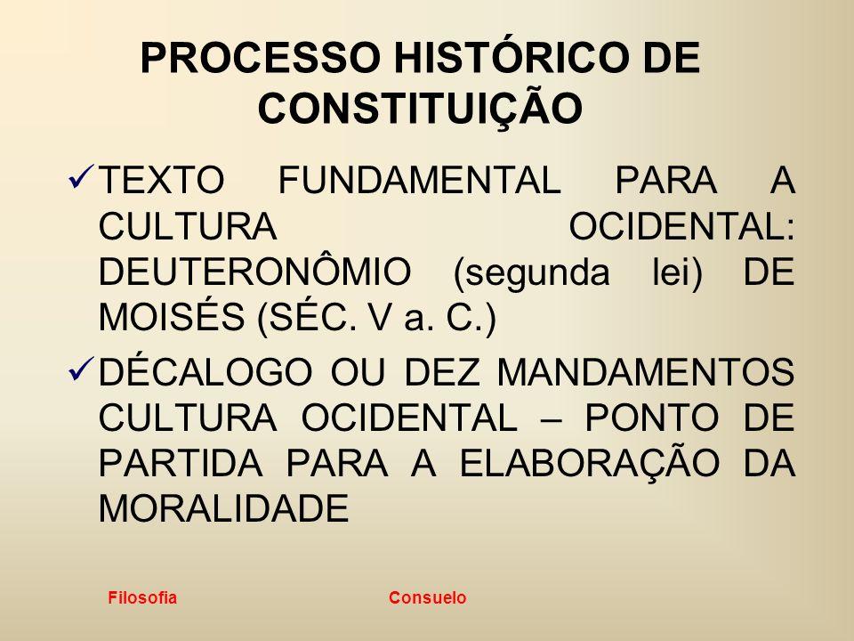 Filosofia Consuelo PROCESSO HISTÓRICO DE CONSTITUIÇÃO TEXTO FUNDAMENTAL PARA A CULTURA OCIDENTAL: DEUTERONÔMIO (segunda lei) DE MOISÉS (SÉC. V a. C.)