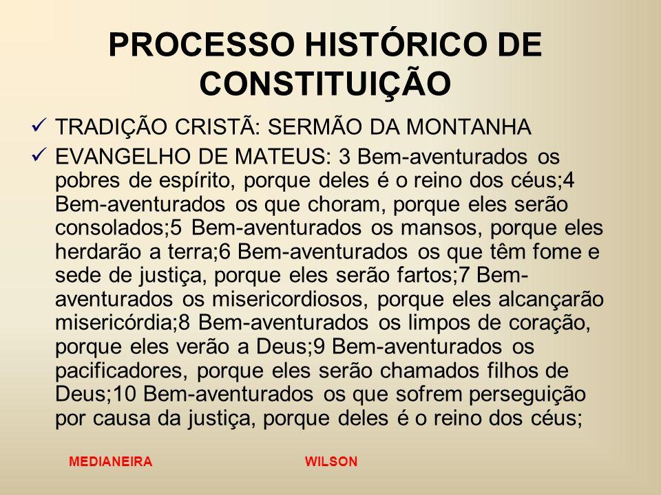 MEDIANEIRA WILSON PROCESSO HISTÓRICO DE CONSTITUIÇÃO TRADIÇÃO CRISTÃ: SERMÃO DA MONTANHA EVANGELHO DE MATEUS: 3 Bem-aventurados os pobres de espírito,