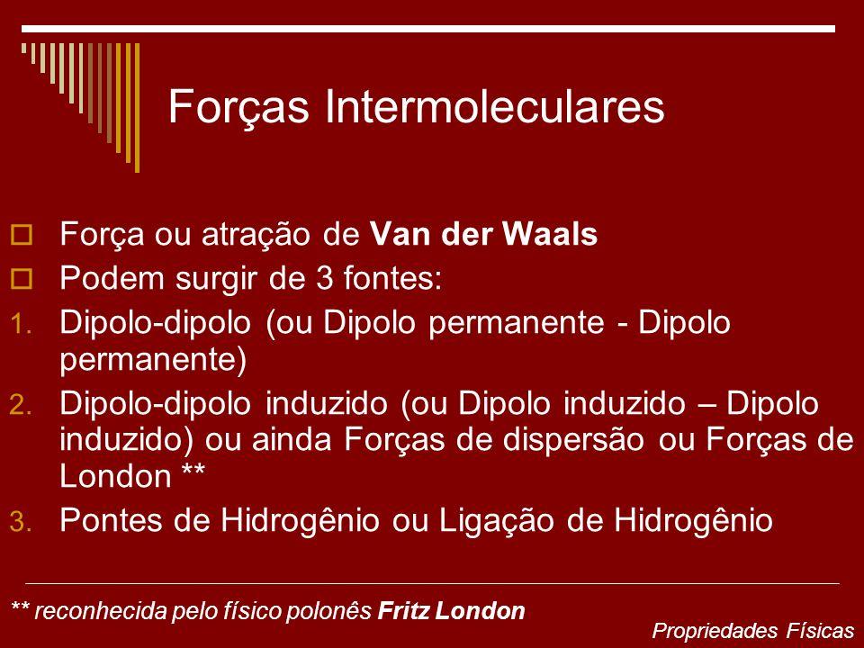 Forças Intermoleculares Força ou atração de Van der Waals Podem surgir de 3 fontes: 1. Dipolo-dipolo (ou Dipolo permanente - Dipolo permanente) 2. Dip