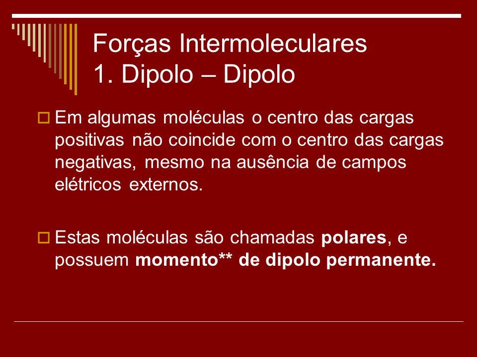 Forças Intermoleculares 1. Dipolo – Dipolo Em algumas moléculas o centro das cargas positivas não coincide com o centro das cargas negativas, mesmo na