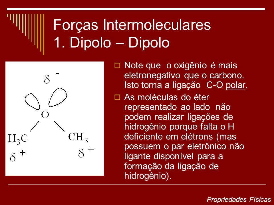 Forças Intermoleculares 1. Dipolo – Dipolo Note que o oxigênio é mais eletronegativo que o carbono. Isto torna a ligação C-O polar. As moléculas do ét