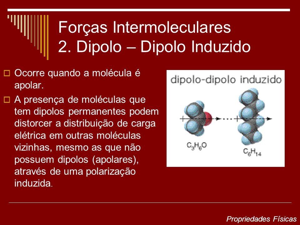 Forças Intermoleculares 2. Dipolo – Dipolo Induzido Ocorre quando a molécula é apolar. A presença de moléculas que tem dipolos permanentes podem disto