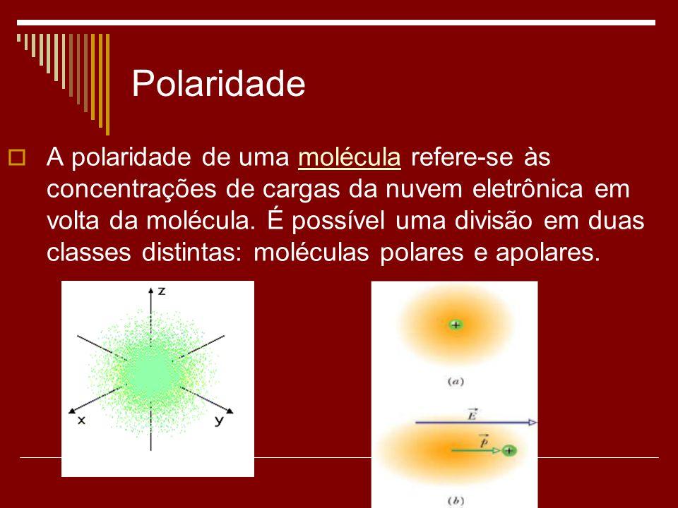 Polaridade A polaridade de uma molécula refere-se às concentrações de cargas da nuvem eletrônica em volta da molécula. É possível uma divisão em duas