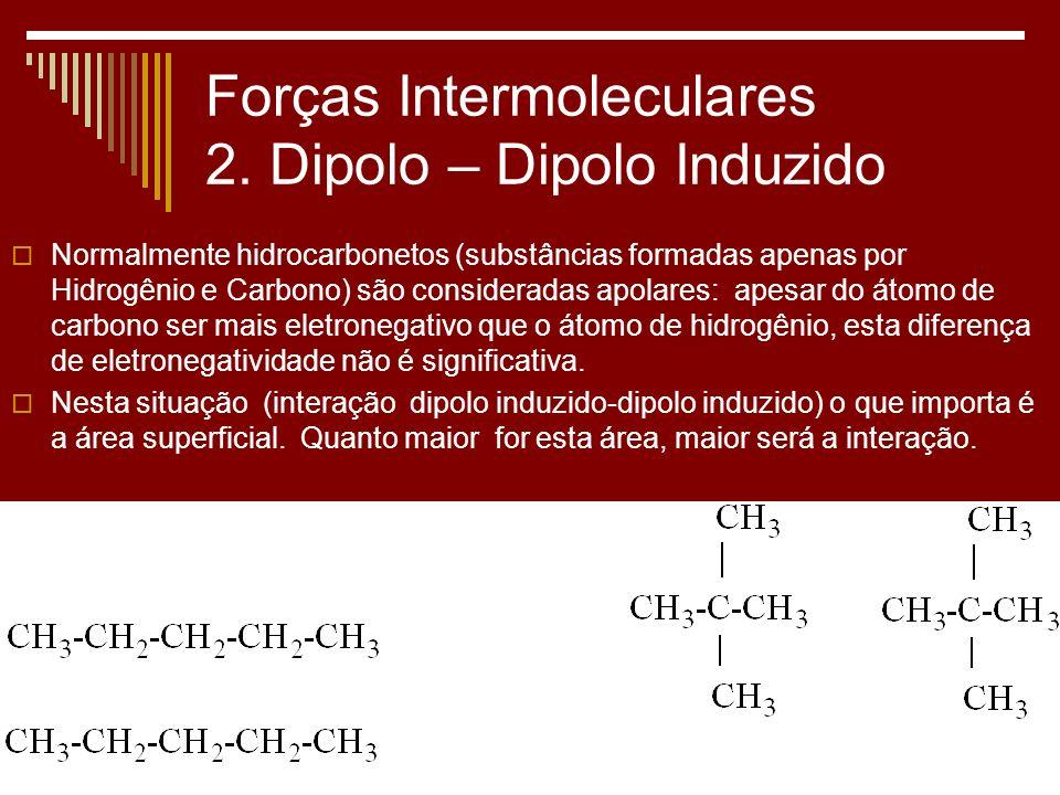 Forças Intermoleculares 2. Dipolo – Dipolo Induzido Normalmente hidrocarbonetos (substâncias formadas apenas por Hidrogênio e Carbono) são considerada