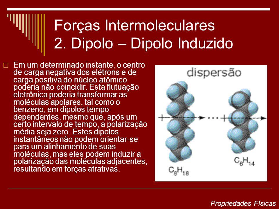 Forças Intermoleculares 2. Dipolo – Dipolo Induzido Em um determinado instante, o centro de carga negativa dos elétrons e de carga positiva do núcleo