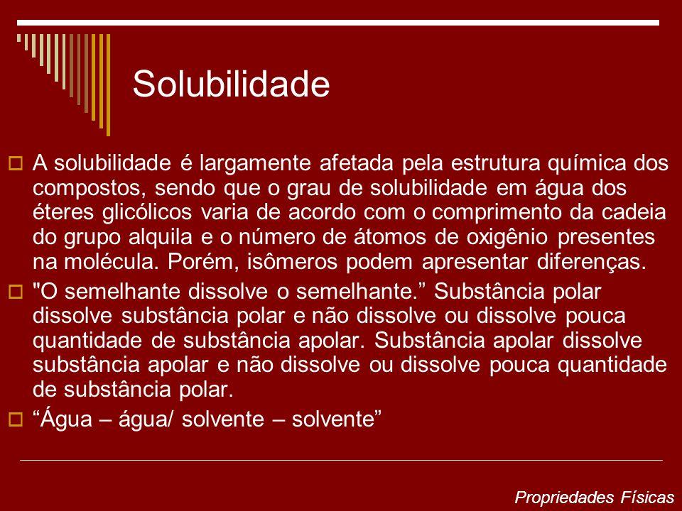 Solubilidade A solubilidade é largamente afetada pela estrutura química dos compostos, sendo que o grau de solubilidade em água dos éteres glicólicos