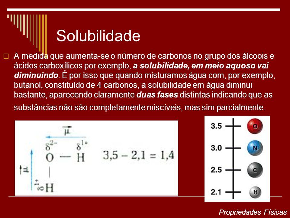 Solubilidade A medida que aumenta-se o número de carbonos no grupo dos álcoois e ácidos carboxílicos por exemplo, a solubilidade, em meio aquoso vai d