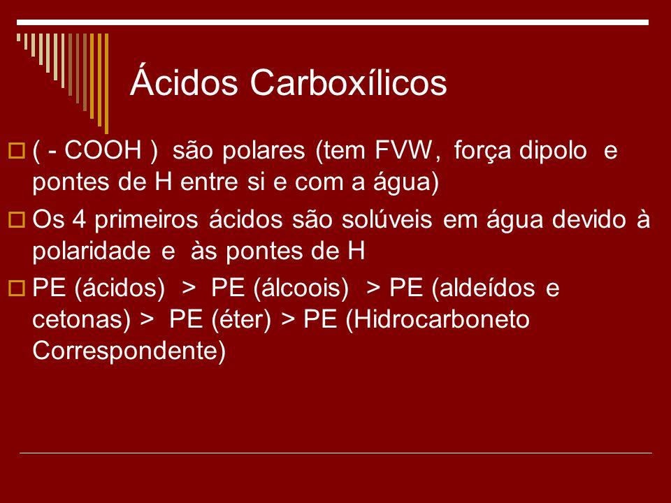 Ácidos Carboxílicos ( - COOH ) são polares (tem FVW, força dipolo e pontes de H entre si e com a água) Os 4 primeiros ácidos são solúveis em água devi
