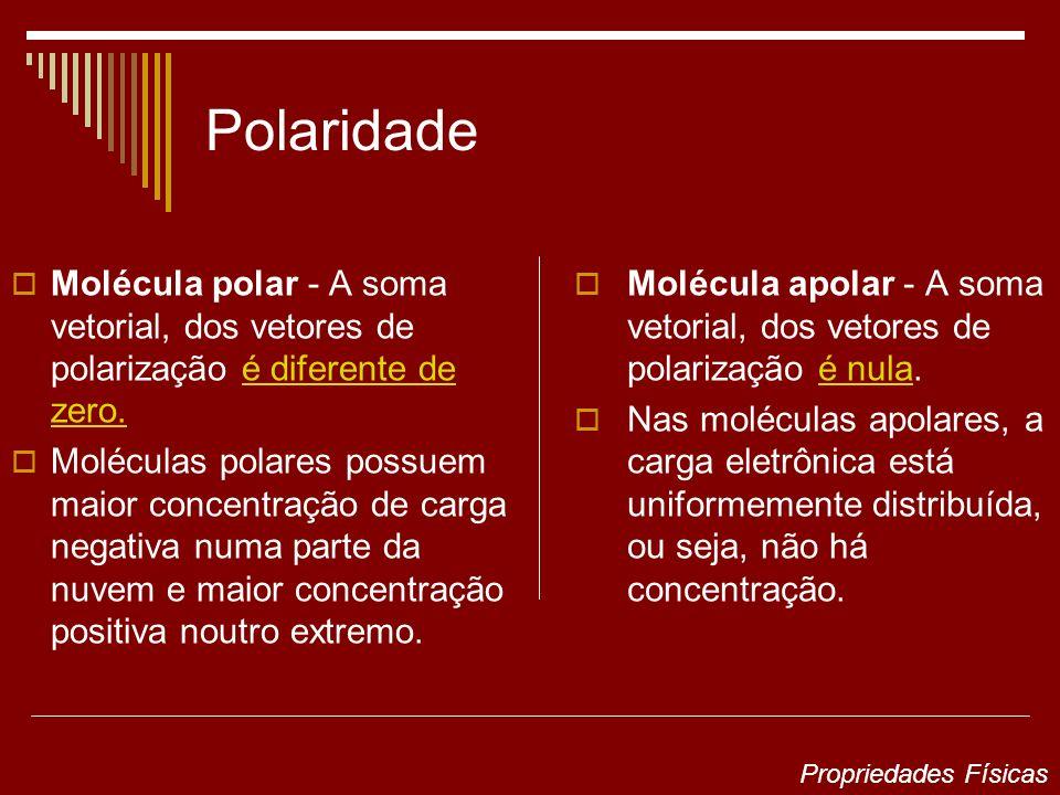 Polaridade Molécula polar - A soma vetorial, dos vetores de polarização é diferente de zero. Moléculas polares possuem maior concentração de carga neg