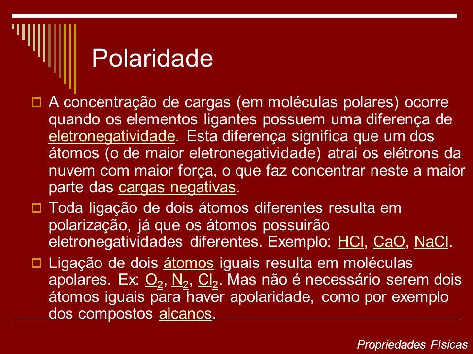 Polaridade A concentração de cargas (em moléculas polares) ocorre quando os elementos ligantes possuem uma diferença de eletronegatividade. Esta difer