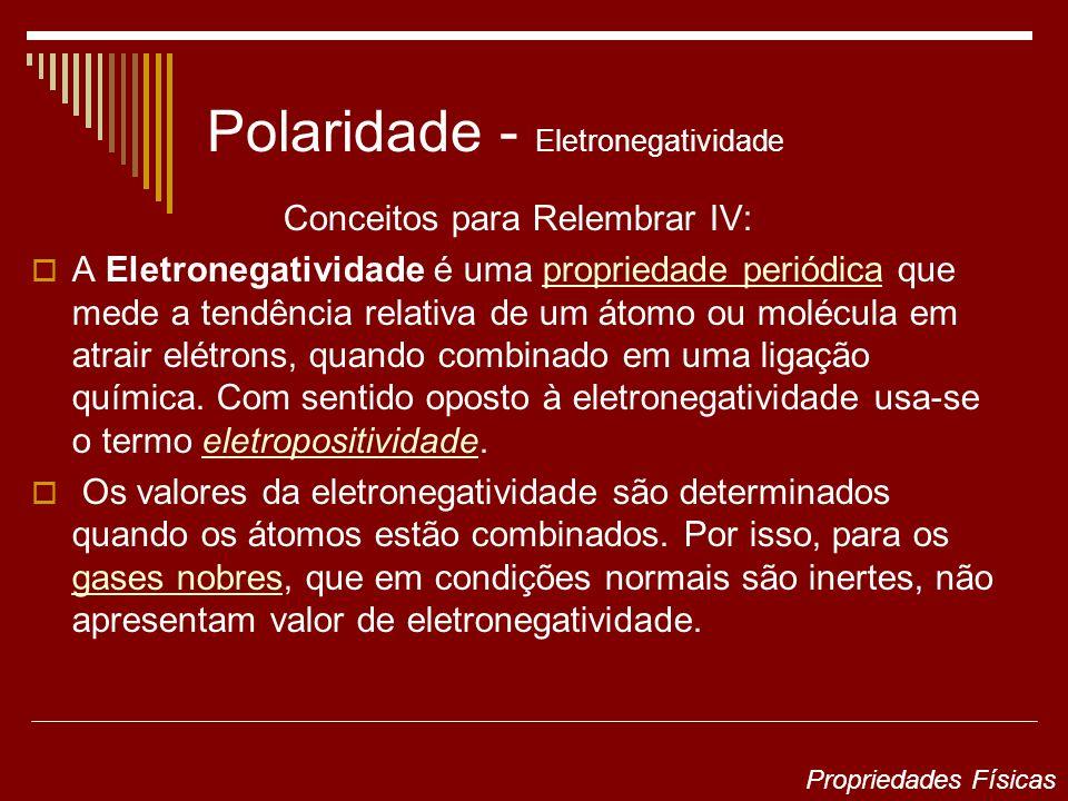 Polaridade - Eletronegatividade Conceitos para Relembrar IV: A Eletronegatividade é uma propriedade periódica que mede a tendência relativa de um átom