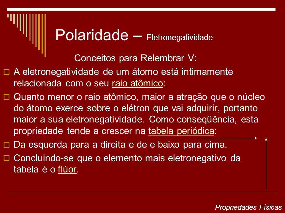 Polaridade – Eletronegatividade Conceitos para Relembrar V: A eletronegatividade de um átomo está intimamente relacionada com o seu raio atômico:raio
