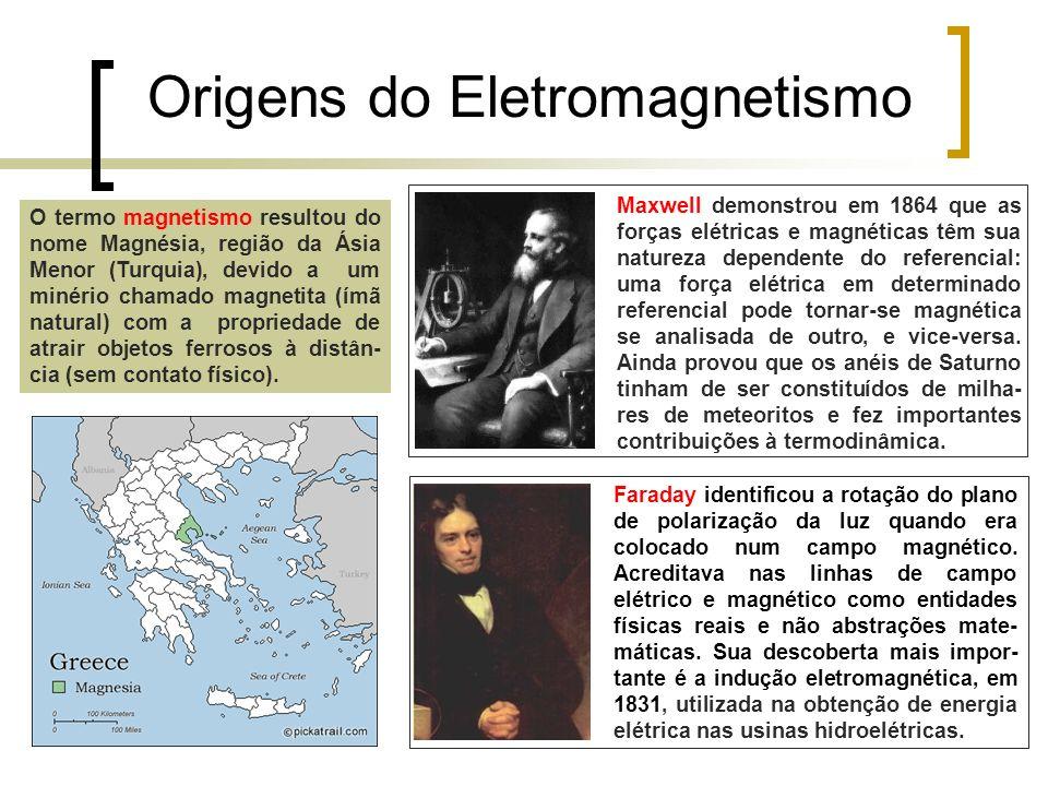 Origens do Eletromagnetismo Faraday identificou a rotação do plano de polarização da luz quando era colocado num campo magnético. Acreditava nas linha