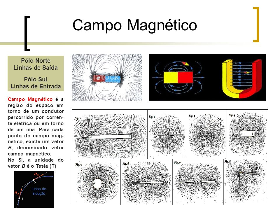 Campo Magnético Pólo Norte Linhas de Saída Pólo Sul Linhas de Entrada Campo Magnético é a região do espaço em torno de um condutor percorrido por corr