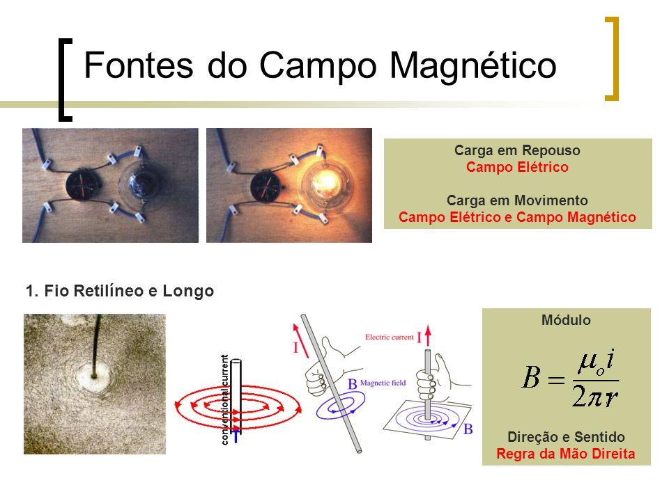 Fontes do Campo Magnético 2.Espira Circular Módulo Direção e Sentido Regra da Mão Direita 3.