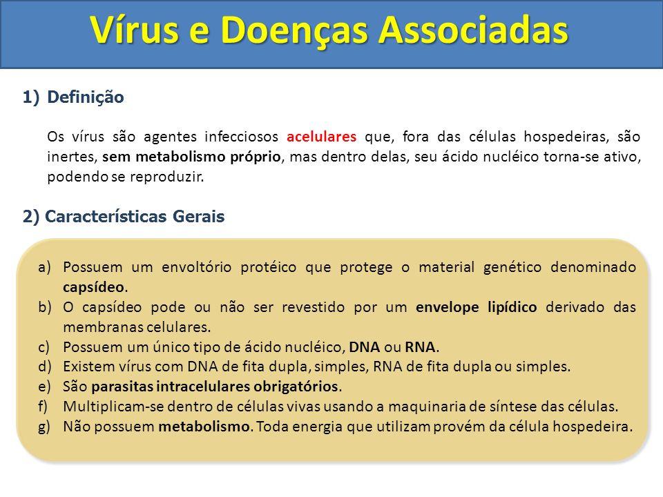 1)Definição Os vírus são agentes infecciosos acelulares que, fora das células hospedeiras, são inertes, sem metabolismo próprio, mas dentro delas, seu