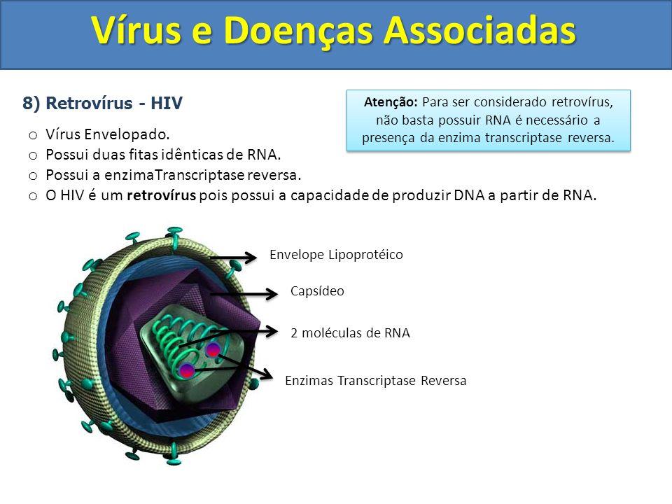 Vírus e Doenças Associadas 8) Retrovírus - HIV o Vírus Envelopado. o Possui duas fitas idênticas de RNA. o Possui a enzimaTranscriptase reversa. o O H